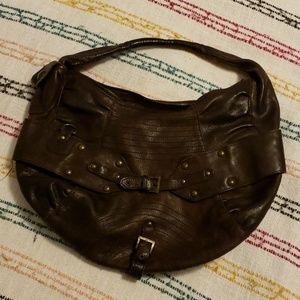 BCBG brown leather shoulder bag